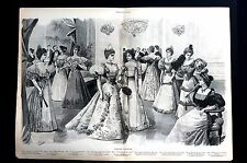 Ladies Victorian Fashion 1896 EVENING GOWNS DRESSES SKIRTS Fans Centerfold Print
