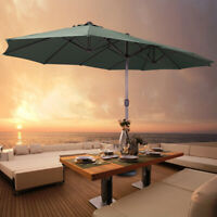 15ft Outdoor Twin Patio Sun Shade Umbrella  Canopy w/Crank Market Garden Parasol