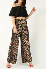 WOMENS LADIES HIGH FASHION LEOPARD SNAKE PRINT PALAZZO WIDE LEG TROUSERS PANTS
