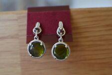 Canadian Ammolite / Garnet Earrings Platinum Over Fine Silver ~ 8mm