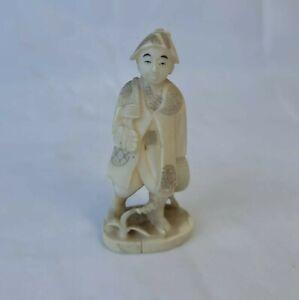 """Antique Hand Carved Japanese Bovine Bone Figurine Wanderer Elder Rare Vintage 1"""""""