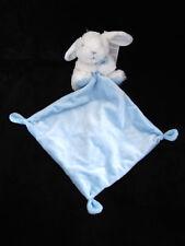 Doudou Peluche Lapin avec carré bleu et blanc à pois Tex Baby Carrefour Nicotoy