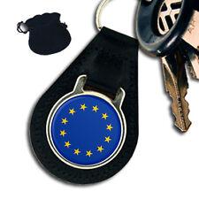 EUROPEAN UNION EU FLAG  LEATHER KEYRING / KEYFOB GIFT