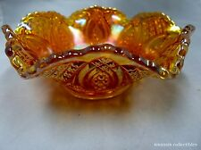 Imperial Carnival Glass Marigold Diamond Ring Pattern Bowl w/Scalloped Rim