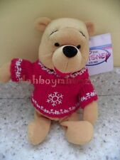 Disney Winnie the Pooh Christmas Holiday Bean Bag plush Snowflake Sweater