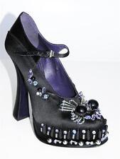 PRADA Black Satin Jeweled Mary Jane Platform Pump Heel Shoe 37.5 NIB