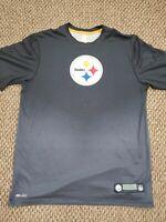 Pittsburgh Steelers Black Gray Nike Dri-Fit T-Shirt Medium Good Condition