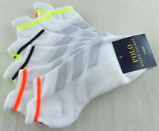 Polo Ralph Lauren Womens Low Cut Tab Socks 3 Pack 9-11 White Neon Colors Cushion