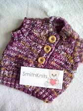 """Hand Knitted new Burgundy/copper sleeveless chunky waistcoat chest size 20"""""""