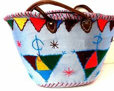 Handwoven & Leather Strap Shopping French Market Basket Bag Moroccan Light Blue