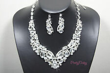 New Rhinestone Crystal Clear Necklace Earring Jewelry Set Wedding Bridal Party
