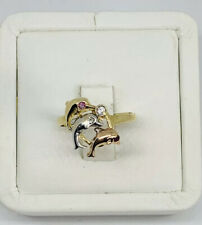 Real 14k Multi-Tone Gold Dolphin Ring Size 7.75