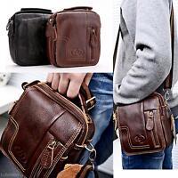 Men's Leather Black Brown Satchel Cross Body Shoulder Messenger Bag Briefcase