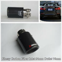 1 Pcs Glossy Black Carbon Fiber+Stainless Steel 54mm/2.1'' Car Exhaust Pipe Tip