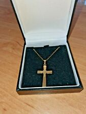 """SOLID 9CT GOLD CRUCIFIX AND 9CT GOLD 17"""" CHAIN IN ORIGNAL BOX UNWORN CONDITION"""