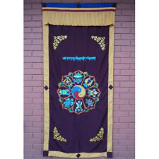 Astamangal Symbol with Ying-Yang Embroidery Maroon Door Curtain , NEPAL