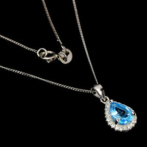 Pear Swiss Blue Topaz 7x5mm Cz White Gold Plate 925 Sterling Silver Necklace 18