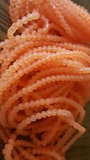Sea Glass Beads 4mm  florescent  orange lot of 20 strands /100 per strand