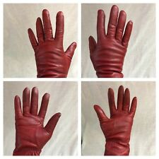Vintage Aris 115 Driving Gloves Red Genuine Leather Fleece Lining 84834 Size 7
