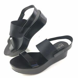 Pedro Garcia Sz 38 /US 7.5 / 8 Black Patent Leather Platform Wedge Sandals Spain