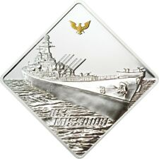 "Palau 2008 The Biggest Battleship USS Missouri 2oz Silver Coin  Gold Plated  ""2"""