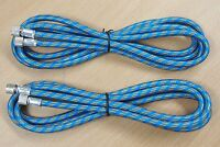 Lot of (2) 6'FT Airbrush Air Hose Nylon Braided Fitting Coupling Ends 1/8""