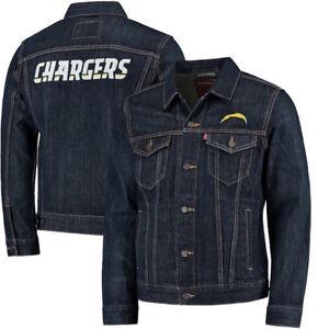 Los Angeles Chargers NFL Levis Blue Denim Trucker Jacket Mens Size Large $108