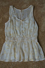 ANTHROPOLOGIE THE ADDISON STORY Golden Sage Blouse Tank Top M NWOT$129 SEXY!