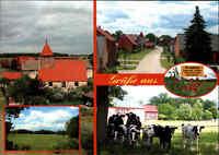 KRAATZ Altmark Brandenburg Ortsansicht Dorf mit 29 Einwohner, Mehrbild-AK 3 Foto