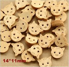 100pc Little Cat Fashion Wood Buttons Children Garment Accessories Craft