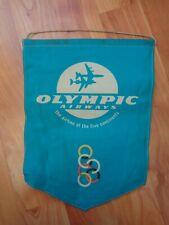 VINTAGE OLYMPIC AIRWAYS AIRLINES DESK FLAG - DESK PENNANT DISPLAY SIGN DESKTOP