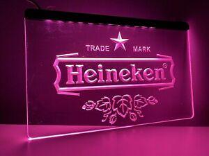 HEINEKEN Pink LED Neon Sign UK Home Bar Cocktails Pub Beer Girly Gift Retro