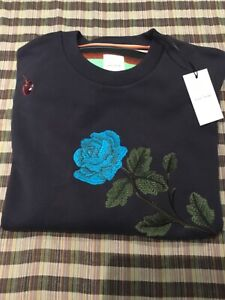 NEW PAUL SMITH WOMENS ROSE EMBROIDERED NAVY SWEAT SHIRT SIZE L