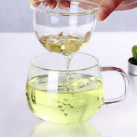 Transparent Clear Glass Milk Mug Coffee Tea Cup With Tea Infuser Filter & Lid