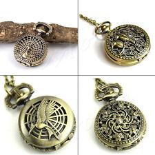 Men Lady Retro Bronze Quartz Necklace Steampunk Pocket Pendant Watches Xmas Gift