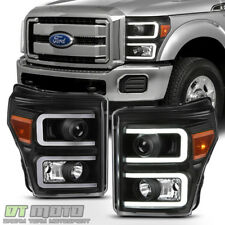 Black 2011-2016 Ford F250 F350 F450 SuperDuty LED Tube DRL Projector Headlights