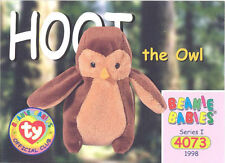 TY Beanie Babies BBOC Card - Series 1 Common - HOOT the Owl - NM/Mint