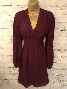Max Studio Ladies Burgundy Lace Long Sleeved Dress Size M UK 12 EU 40 US 8