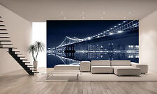 Manhattan Bridge Night Wall Mural Photo Wallpaper GIANT DECOR Paper Poster
