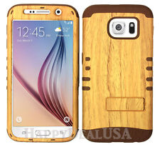 Hybrid Silicone Cover Case for Samsung Galaxy S6 i9700 CB/Wood Grain Light
