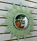 Unusual Domed Mirror Leaf Framed Hand Painted Sage Green Metal Distressed18'
