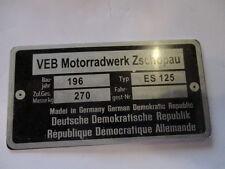 Nameplate IFA VEB GDR Zschopau MZ ES 125 S25