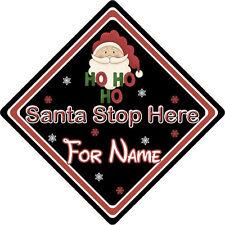 Personalizzata Babbo Natale Stop Qui Firmare finestra ~ Babbo Natale Ho Ho Ho ~ Nero