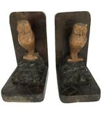 Vintage Hand Carved Owl Bookends Mid Century Wood Carving