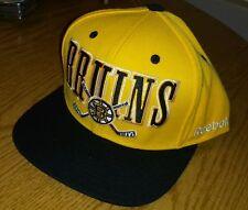 NEW MEN'S REEBOK BOSTON BRUINS RETRO BLACK/GOLD FLAT BILL SNAPBACK HAT CAP
