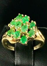 10K Genuine Pear Shaped 2Ct Emerald Ladies Ring ~ Size 7
