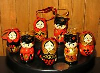 Christmas Tree Decorations Ornaments Russian Hand Made Khokhloma Set RED BLACK