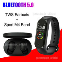 For Xiaomi RedMi TWS Headset Bluetooth 5.0 Earphone Earbuds +M4 Smart Band Sport