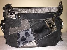 Great! Authentic Coach Dark Urban Leather Patchwork Signature Zoe Shoulder Bag.