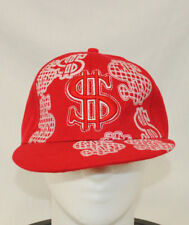 Red Dollar Signs Baseball Cap Hat Size 7.25 Embroidered $ Glitter Sparkle